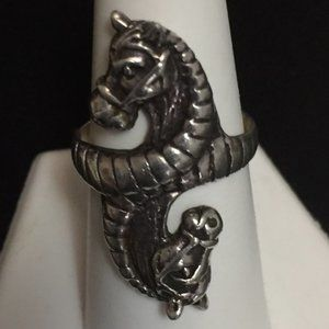 Vintage Sterling Silver Double Horse Ring